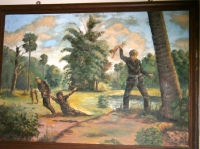 The most haunting image for me in the camp was on a painting by one of the seven survivors. The image of the Khmer Rouge soldier killing a baby by swinging the baby by its feet and bashing in its skull continued to haunt me long after I left the prison.